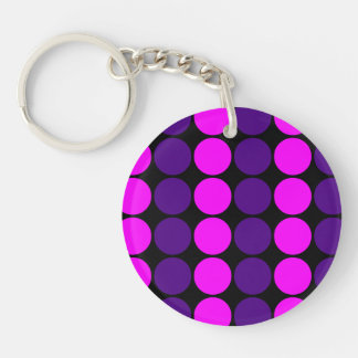 Stylish Gifts for Her : Purple & Pink Polka Dots Single-Sided Round Acrylic Keychain