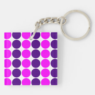 Stylish Gifts for Her : Purple & Pink Polka Dots Double-Sided Square Acrylic Keychain