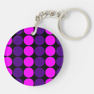 Stylish Gifts for Her : Purple & Pink Polka Dots Double-Sided Round Acrylic Keychain