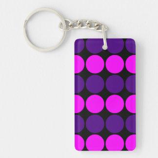 Stylish Gifts for Her : Purple & Pink Polka Dots Single-Sided Rectangular Acrylic Keychain