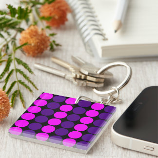 Stylish Gifts for Her : Purple & Pink Polka Dots Single-Sided Square Acrylic Keychain
