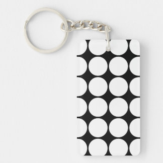 Stylish Gifts for Her : White Polka Dots Double-Sided Rectangular Acrylic Keychain