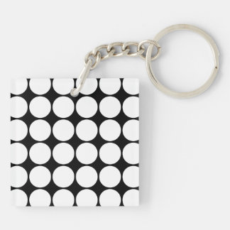 Stylish Gifts for Her : White Polka Dots Double-Sided Square Acrylic Keychain