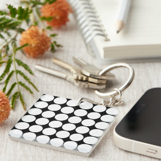 Stylish Gifts for Her : White Polka Dots Single-Sided Square Acrylic Keychain