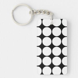 Stylish Gifts for Her : White Polka Dots Single-Sided Rectangular Acrylic Keychain