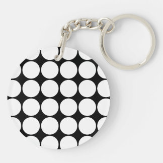 Stylish Gifts for Her : White Polka Dots Double-Sided Round Acrylic Keychain