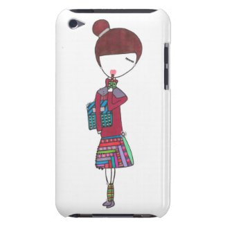 stylish girl with bubble tea on ipod touch case