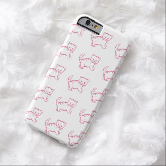 Stylish Girly Pink Adorable Kitten Artwork Barely There iPhone 6 Case