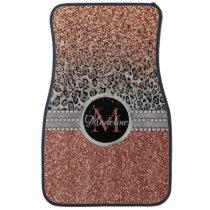 Stylish Girly Rose Gold Glitter Leopard Monogram Car Floor Mat