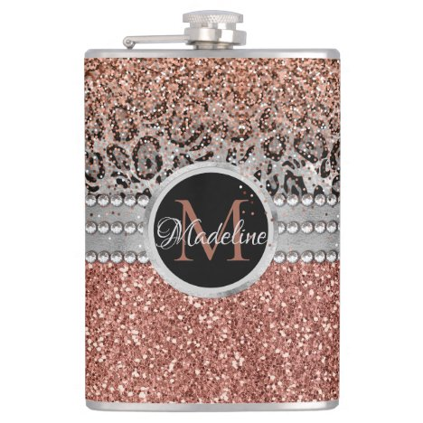Stylish Girly Rose Gold Glitter Leopard Monogram Flask