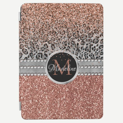 Stylish Girly Rose Gold Glitter Leopard Monogram iPad Air Cover