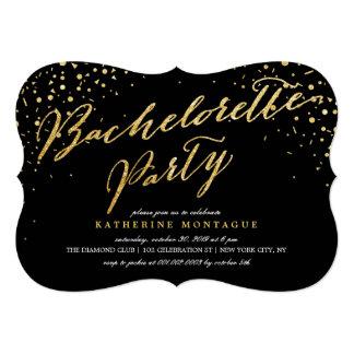 Stylish Glam Confetti Bachelorette Party Invite