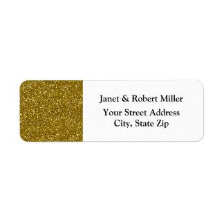 Stylish Glitter Gold Return Address Label