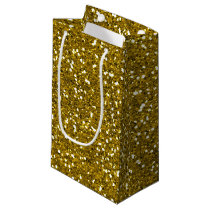 Stylish Glitter Gold Small Gift Bag