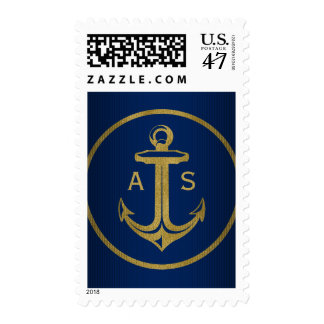 Stylish gold anchor with initials | Nautical Gifts Postage