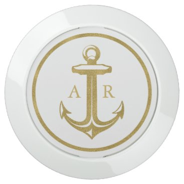 Beach Themed Stylish gold anchor with initials | Nautical Gifts USB Charging Station