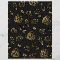 Stylish Gold and Black Seashells Pattern Letterhead