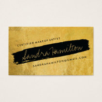 Stylish Gold and Black Slanted Brush Stroke Business Card