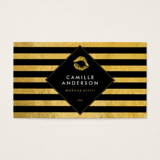 Stylish Gold and Black Stripes with Gold Lips Business Card
