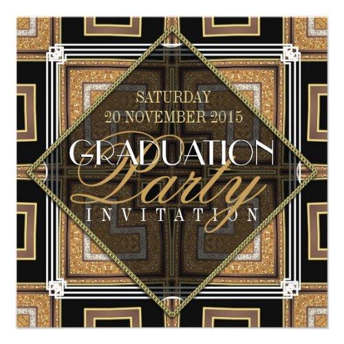 Stylish Gold Black Art Deco Graduation Party Custom Announcement