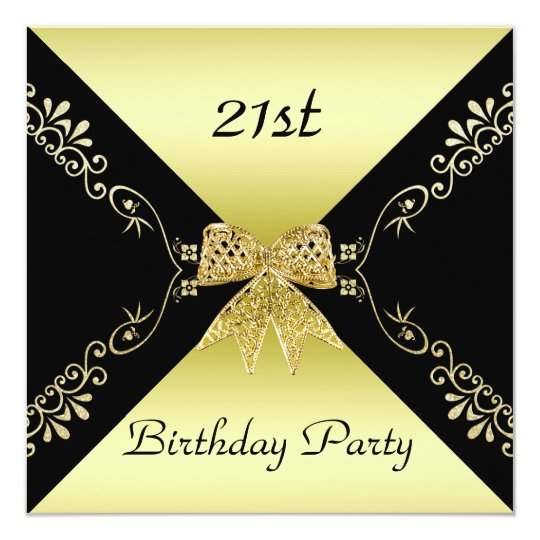 Stylish Gold Black Decorative Bow 21st Birthday Invitation