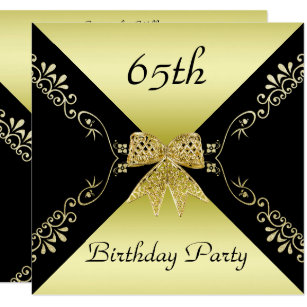 Stylish Gold Black Decorative Bow 65th Birthday Invitation