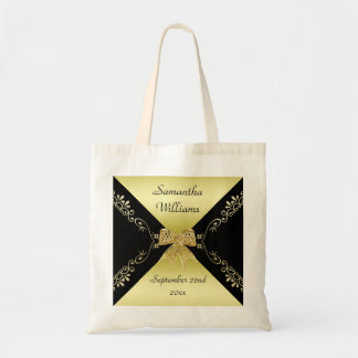 Stylish Gold & Black Decorative Bow Any Event Tote Bag