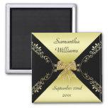 Stylish Gold & Black Decorative Bow Favor Magnet
