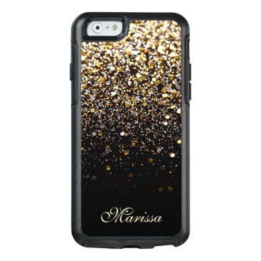 Christmas Themed Stylish Gold Black Glitter OtterBox iPhone 6 Case