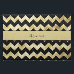 """Stylish Gold &amp; Black ZigZags Cloth Placemat<br><div class=""""desc"""">Glamorous personalized modern faux gold foil zigzags / chevrons pattern on a chic black background.  PLEASE NOTE:  These are flat printed graphics - no real gold foil or raised parts.</div>"""