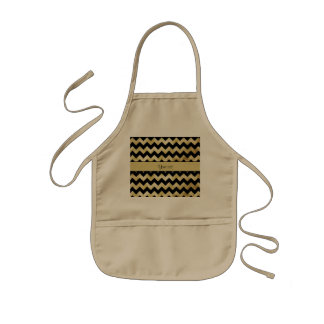 Stylish Gold & Black ZigZags Kids' Apron