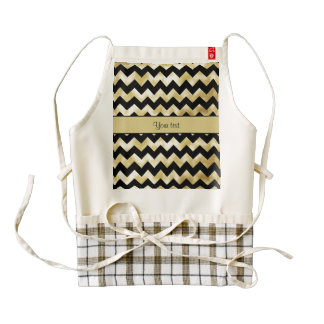 Stylish Gold & Black ZigZags Zazzle HEART Apron