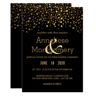Stylish Gold Confetti and Black Wedding Invitation