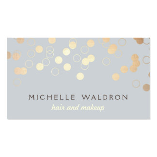 Stylish Gold Confetti Beauty Makeup Artist Gray Double-Sided Standard Business Cards (Pack Of 100)