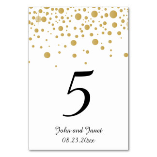 Stylish Gold Confetti Dots 2   White Background Card