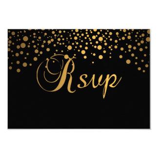 Stylish Gold Confetti Dots | Black 3.5x5 Paper Invitation Card