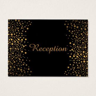 Stylish Gold Confetti Dots | Black Business Card