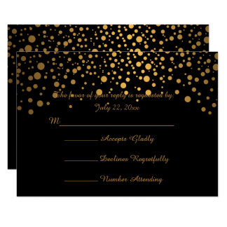 Stylish Gold Confetti Dots | Black Card