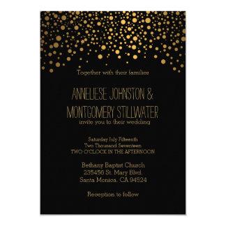 Stylish Gold Confetti Dots | Black Invitation