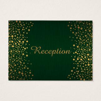 Stylish Gold Confetti Dots | Dark Green Business Card