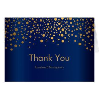Stylish Gold Confetti Dots   Navy Blue Satin Card