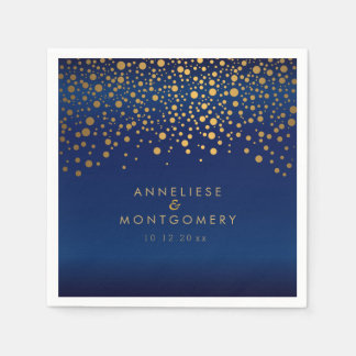 Stylish Gold Confetti Dots on Navy Blue Satin Paper Napkin