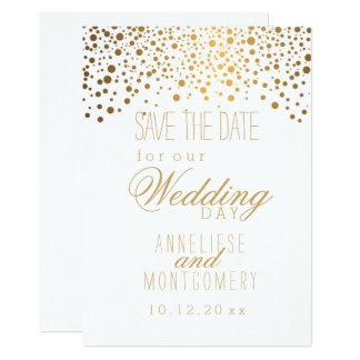 Stylish Gold Confetti Dots on White Card
