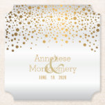 """Stylish Gold Confetti Dots on White Satin Paper Coaster<br><div class=""""desc"""">Paper Coasters. Stylish Gold Confetti Dots on White Satin. 100% Customizable. Ready to Fill in the box(es) or Click on the CUSTOMIZE IT button to change, move, delete or add any of the text or graphics. Made with high resolution vector graphics for a professional print. NOTE: (All zazzle product designs...</div>"""
