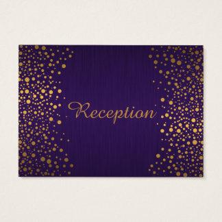 Stylish Gold Confetti Dots | Purple Business Card