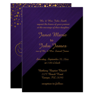 Stylish Gold Confetti Dots | Purple Card