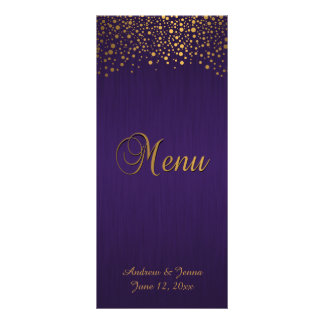 Stylish Gold Confetti Dots | Purple Rack Card