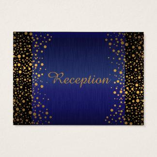Stylish Gold Confetti Dots | Sapphire Blue Black Business Card