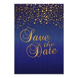 Stylish Gold Confetti Dots | Sapphire Blue Card