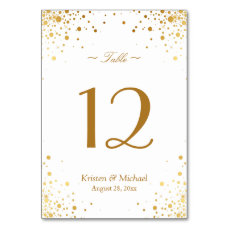 Stylish Gold Confetti Dots Wedding Table Number